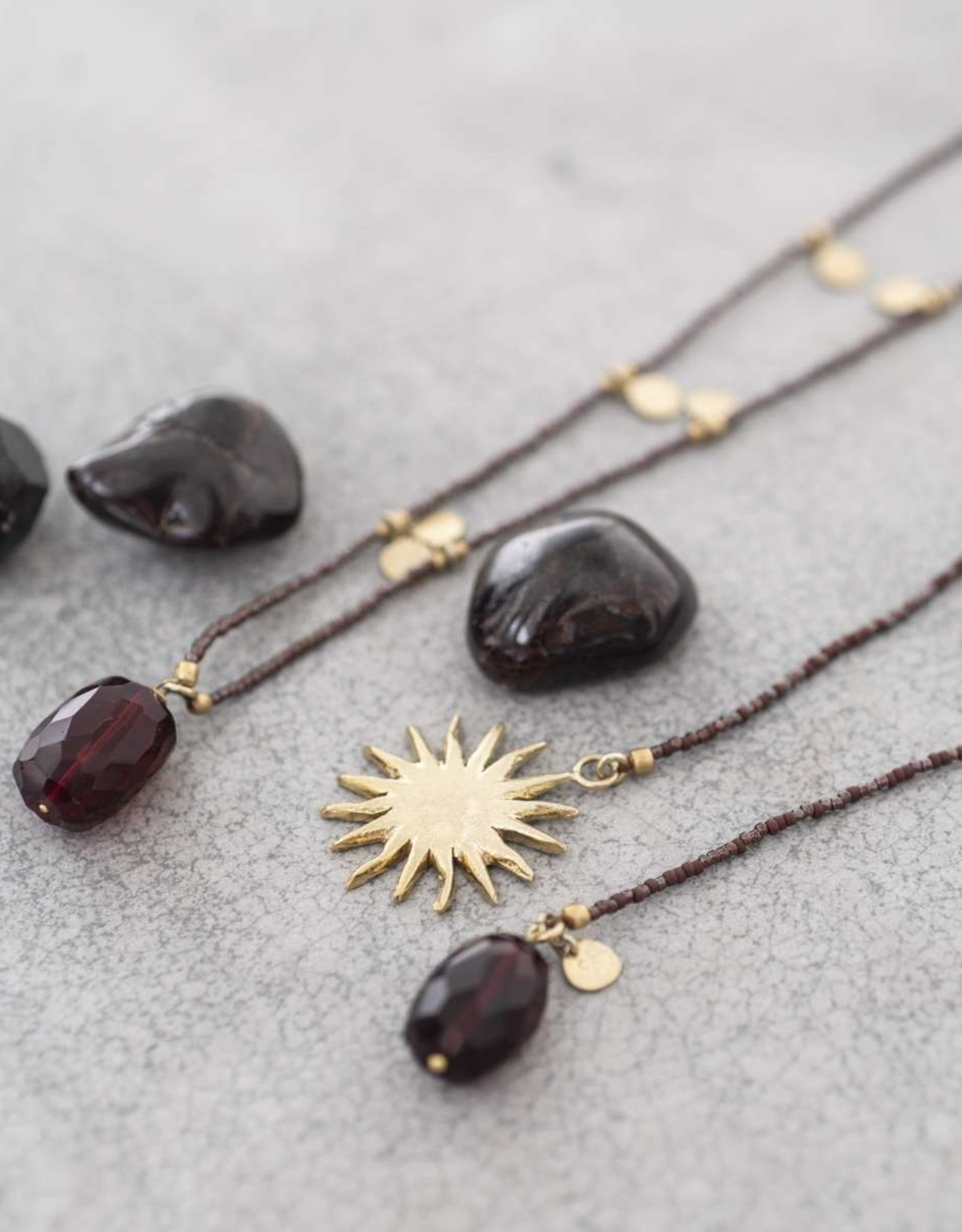 A Beautiful Story Charming Garnet Gold Necklace
