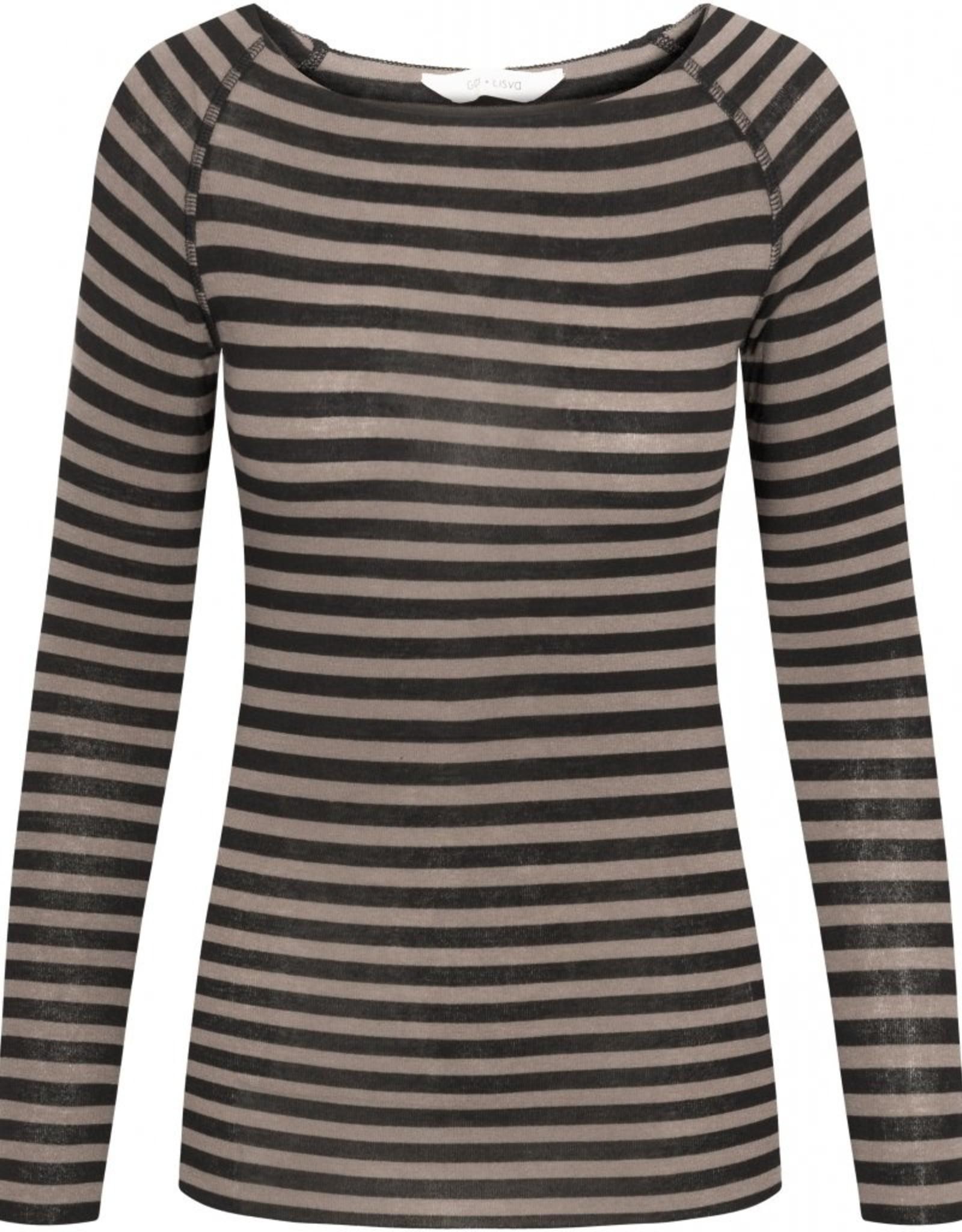 Gai&Lisva Amalie shirt wol/viscose stripe Hazy Brown