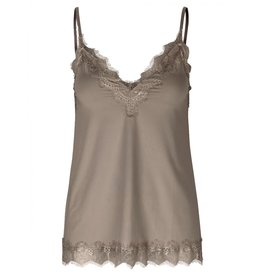 Rosemunde Strap top with Lace - Dark Sand