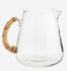 Madam Stoltz Glass jug with bamboo handle
