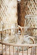 Madam Stoltz Glazen karaf met bamboe handvat