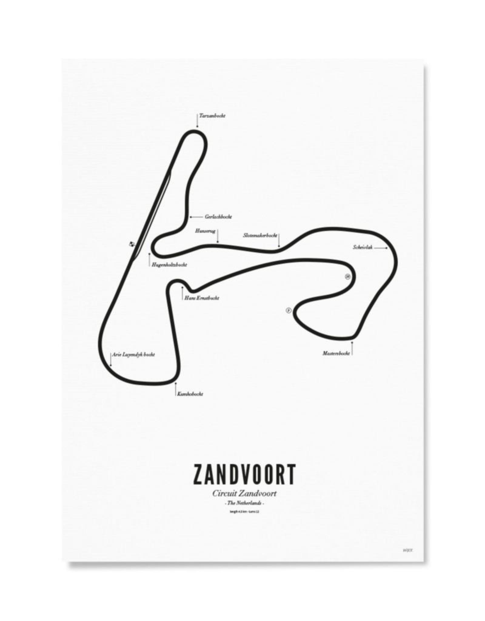 Wijck Kaart Circuit Zandvoort Wit