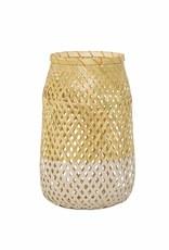 """Bloomingville lantaarn 'Sule"""" bamboe met glas"""