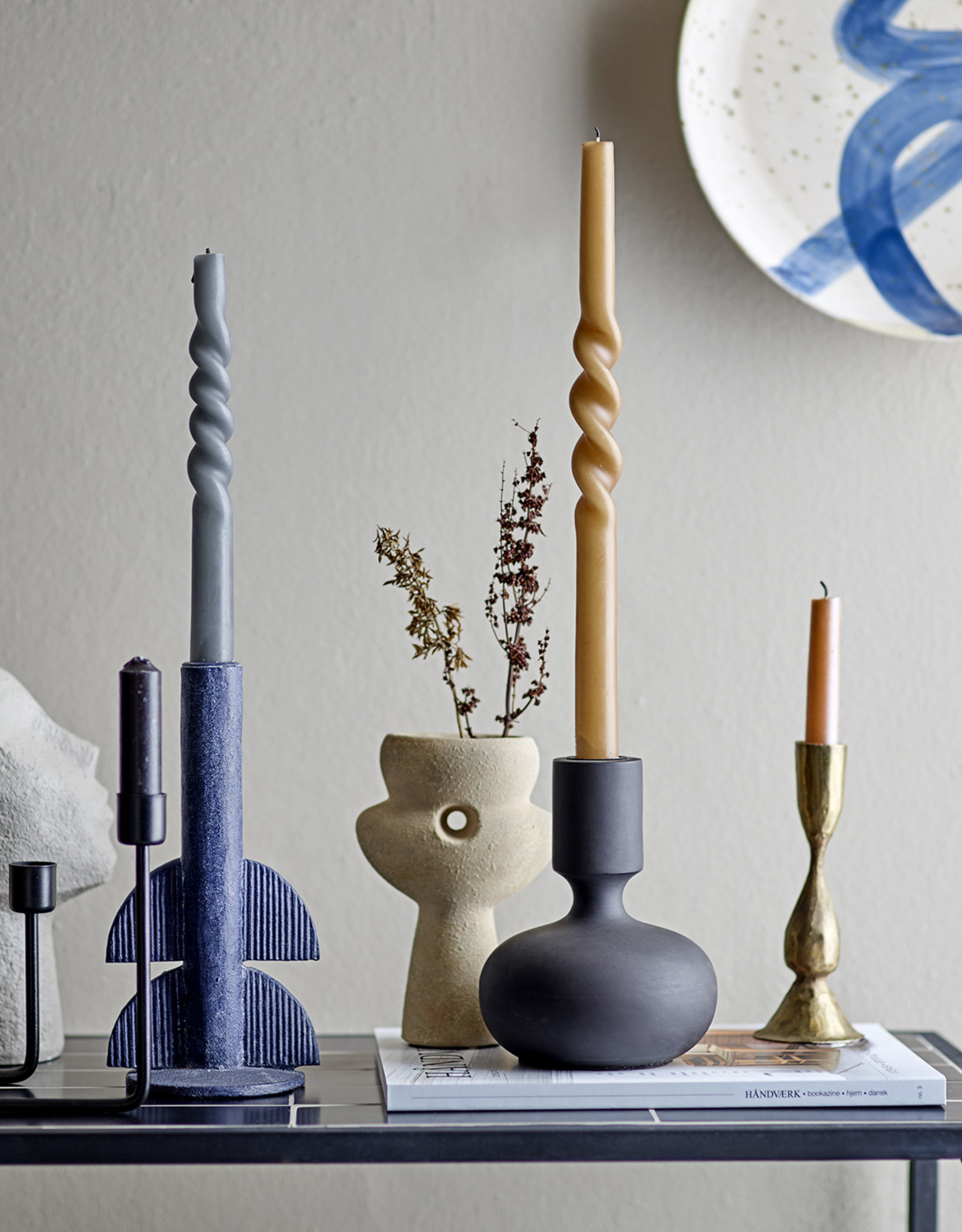 Bloomingville 'Twist' candle set/2 XL - brown