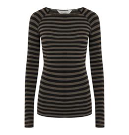 Gai&Lisva Amalie Stripe Wool Top - Soil Brown/Black