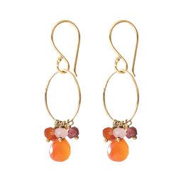 A Beautiful Story Earrings  'Flourish' gold - carnelian