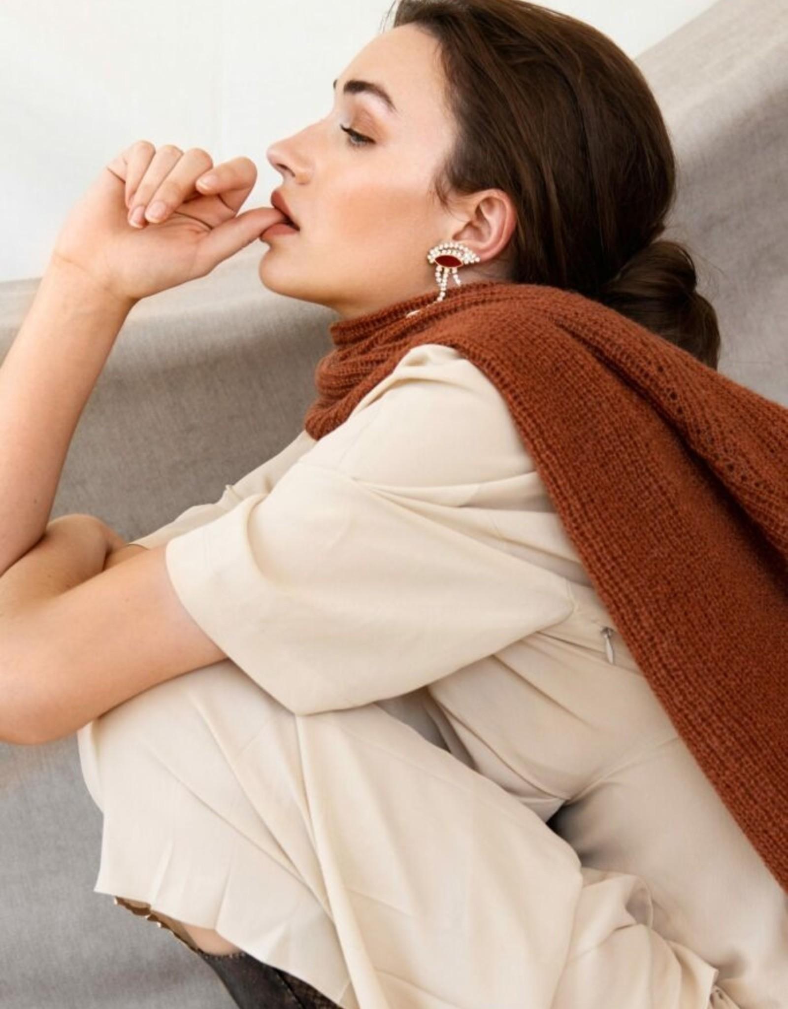Leselles sjaal 'Jille'  - rusty brown