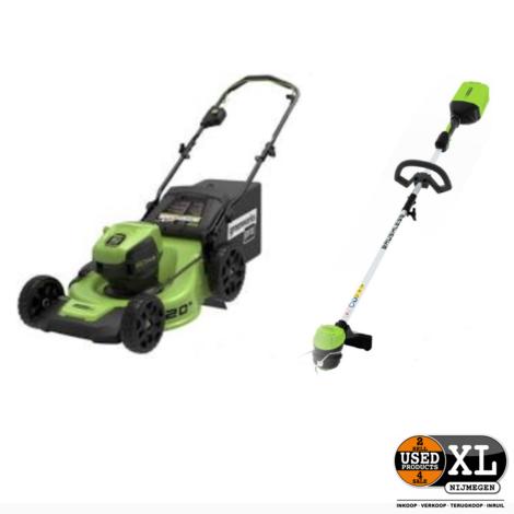 Greenworks 60V Grasmaaier GD60LM + Trimmer GD60LT | Nieuw