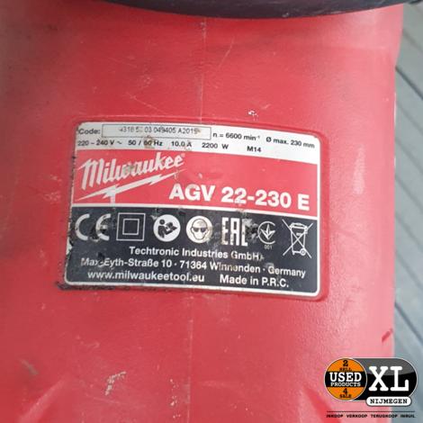 Milwaukee AGV 22-230 E Haakse Slijper | met Garantie