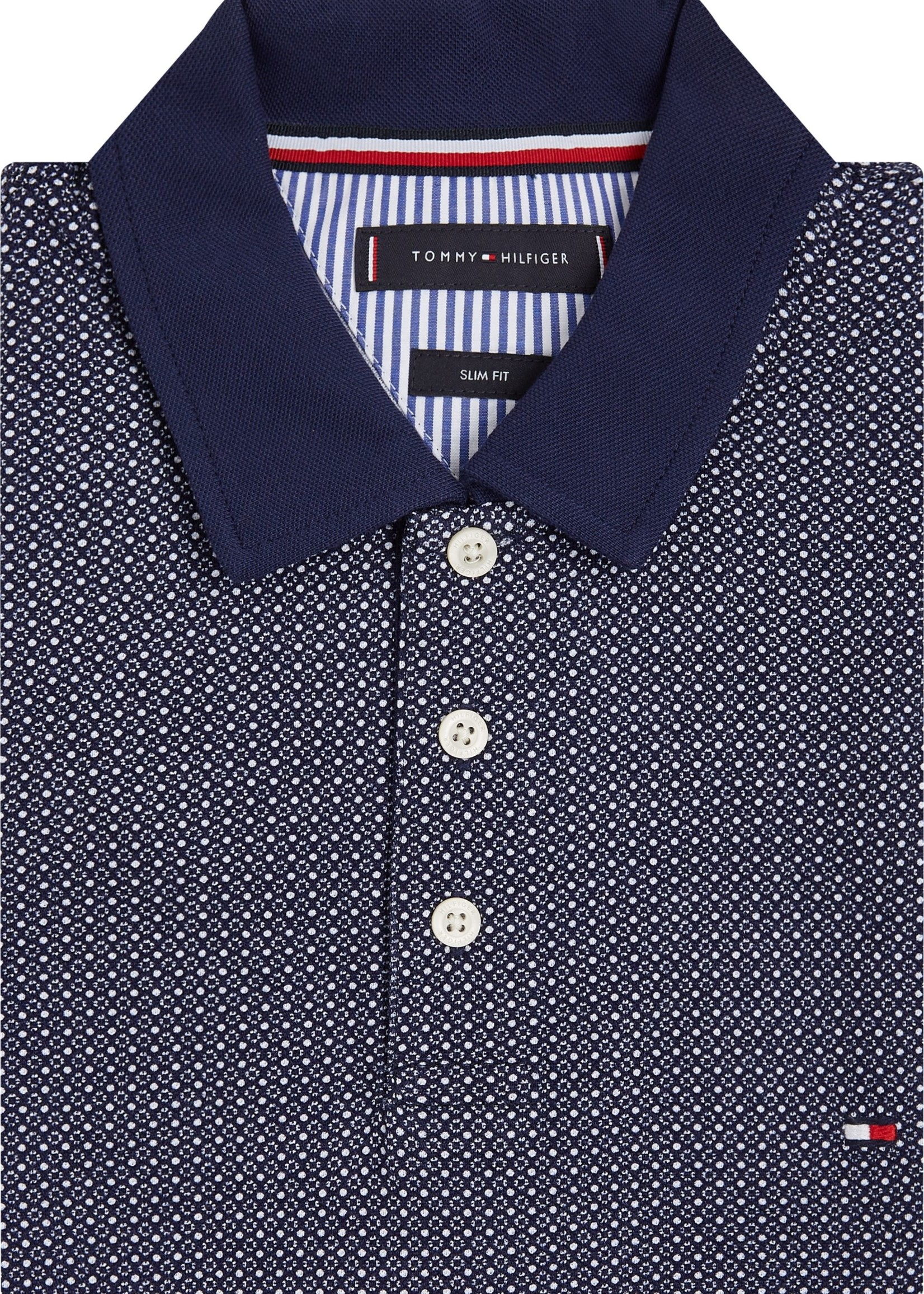Tommy Hilfiger Micro Print Cotton Slim Fit Polo | Blue | Tommy Hilfiger