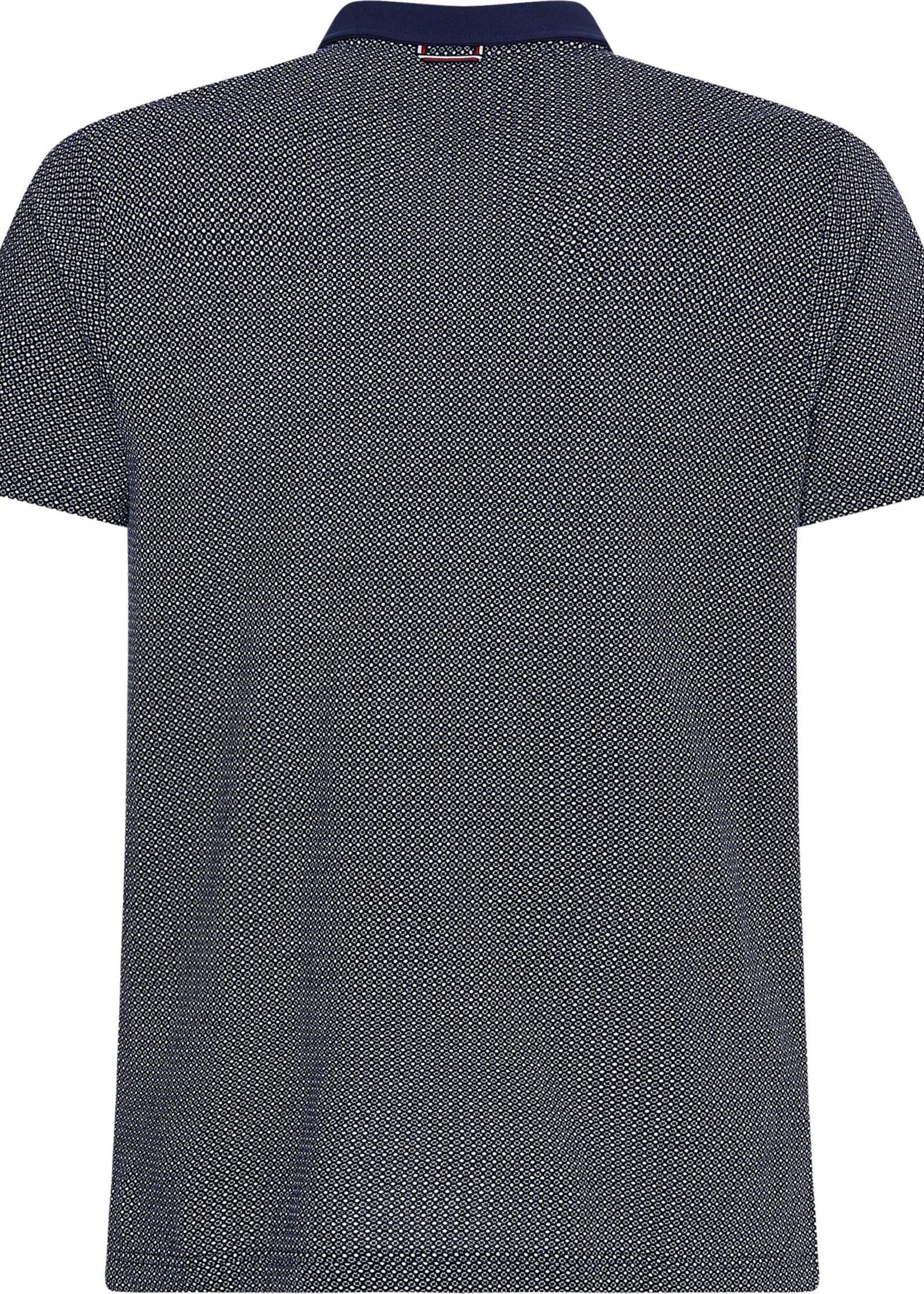 Tommy Hilfiger Polo ajusté en coton à micro-motif   Bleu   Tommy Hilfiger