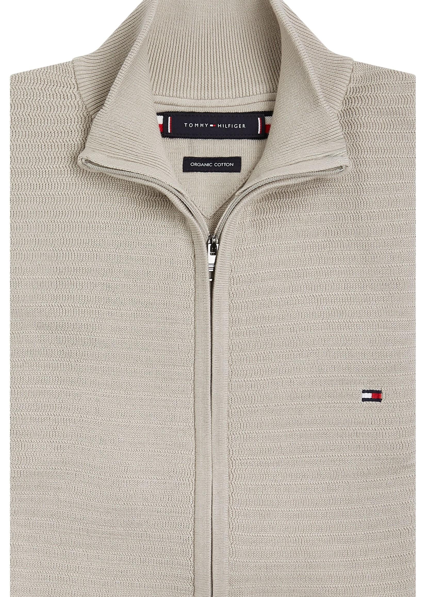 Tommy Hilfiger Textured Stripe Zip-Thru Cardigan | Beige | Tommy Hilfiger