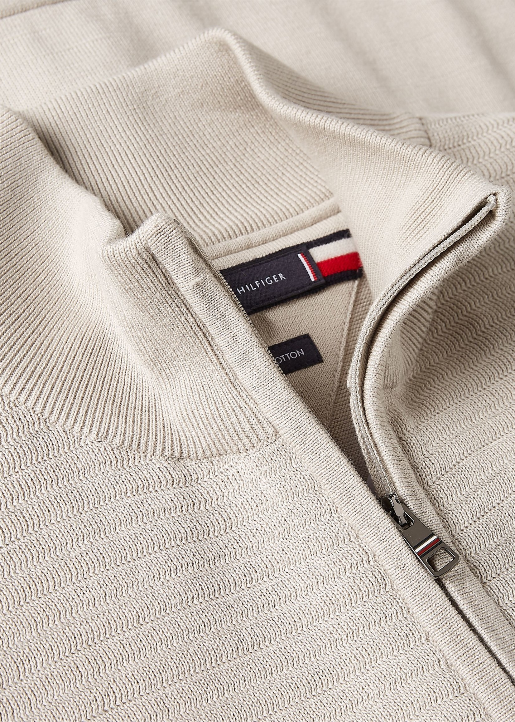 Tommy Hilfiger Cardigan zippé à rayures texturées | Beige | Tommy Hilfiger