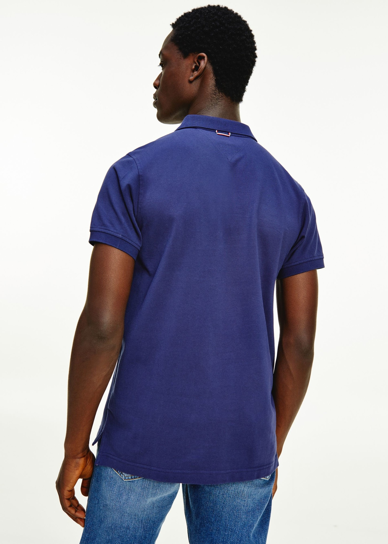 Tommy Hilfiger Slim fit polo met signature-placketfront | Blauw | Tommy Hilfiger