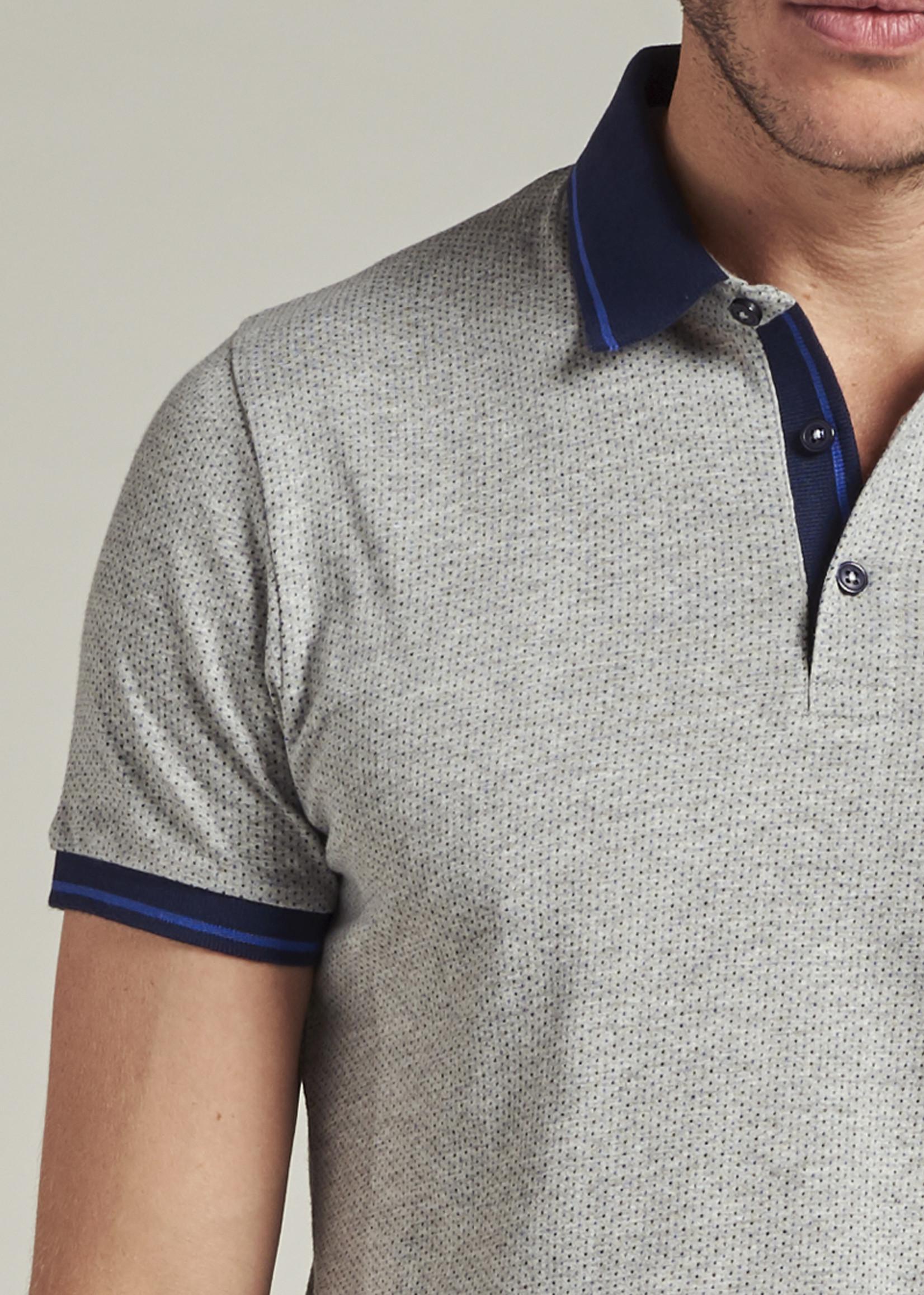 Dstrezzed Polo met dot print | Light Grey Melange | Dstrezzed