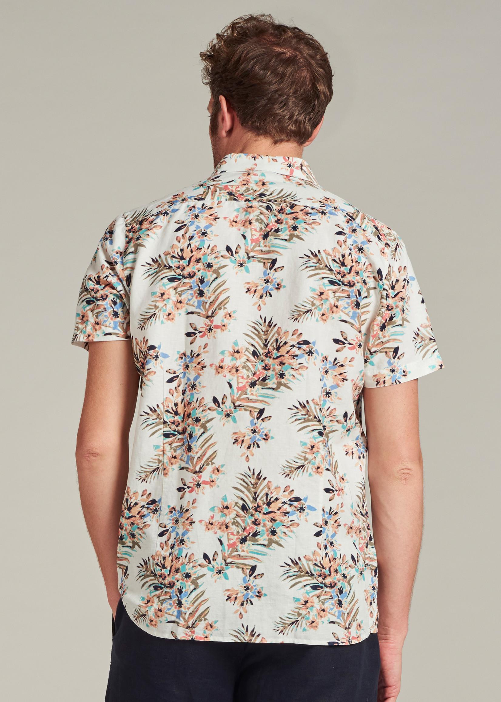 Dstrezzed Korte mouw shirt met geschilderde bloemenprint | White | Dstrezzed
