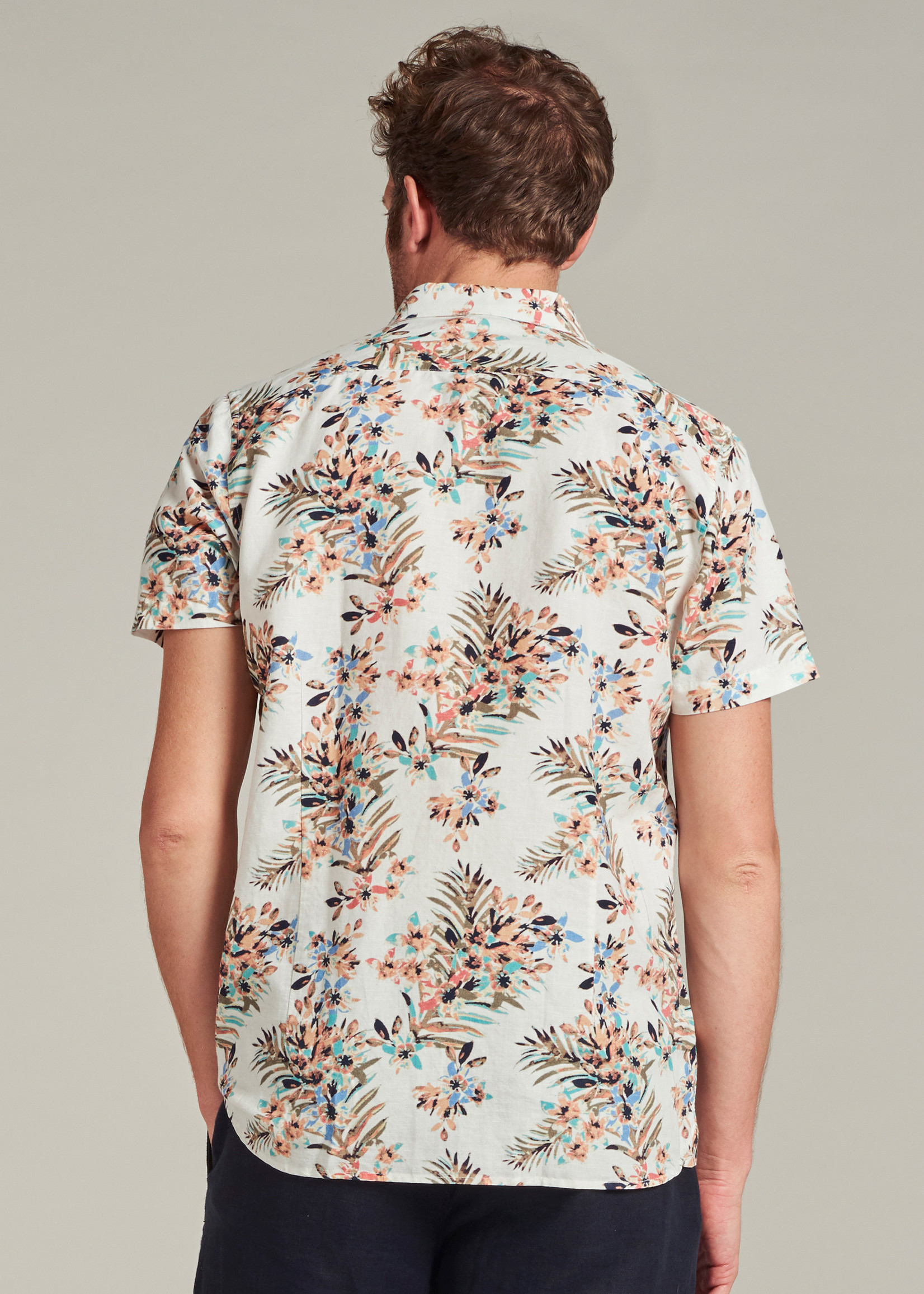 Dstrezzed Short sleeve shirt with painted flowers | White | Dstrezzed