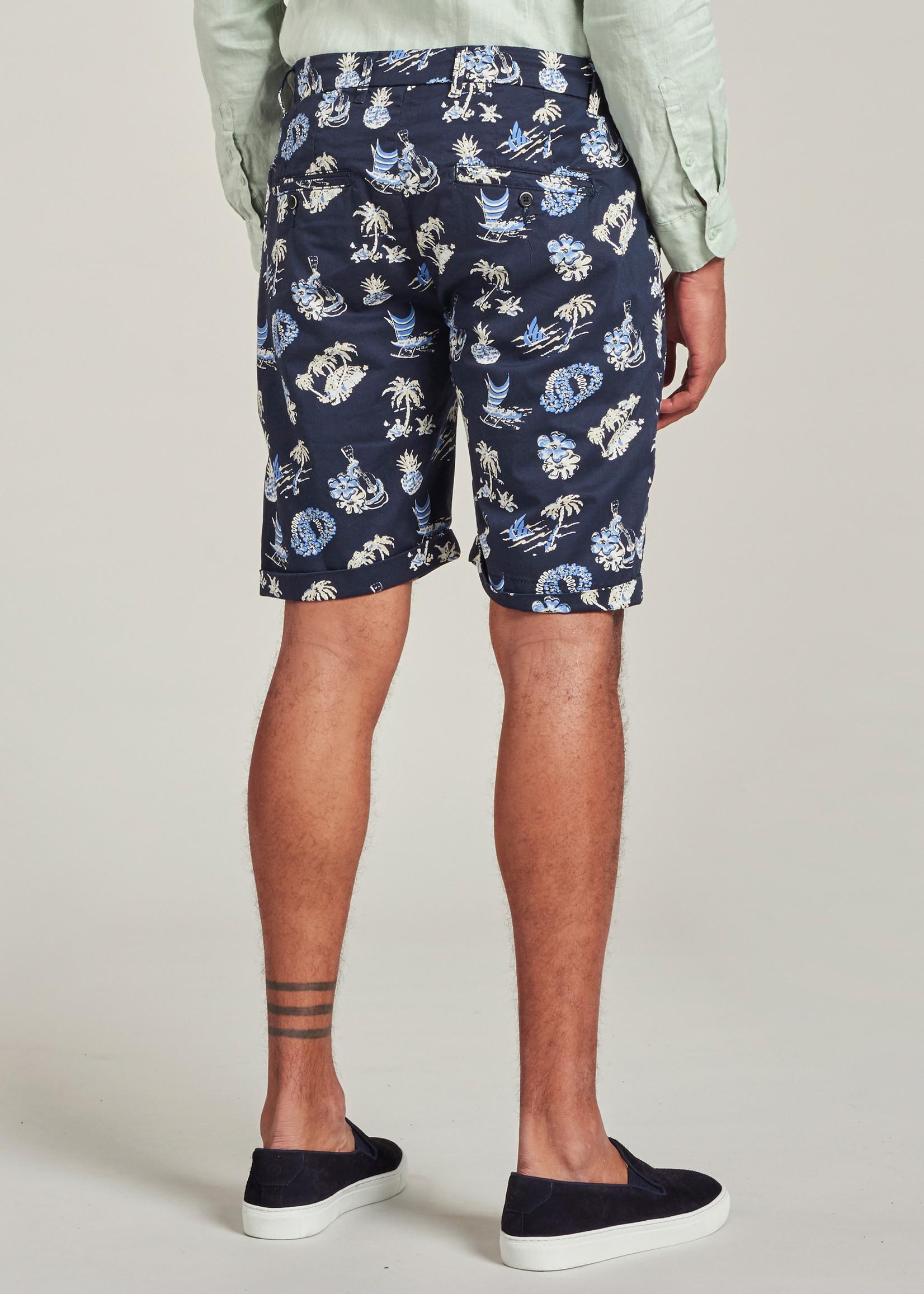 Dstrezzed The Fonda Chino shorts with tropical print | Navy | Dstrezzed