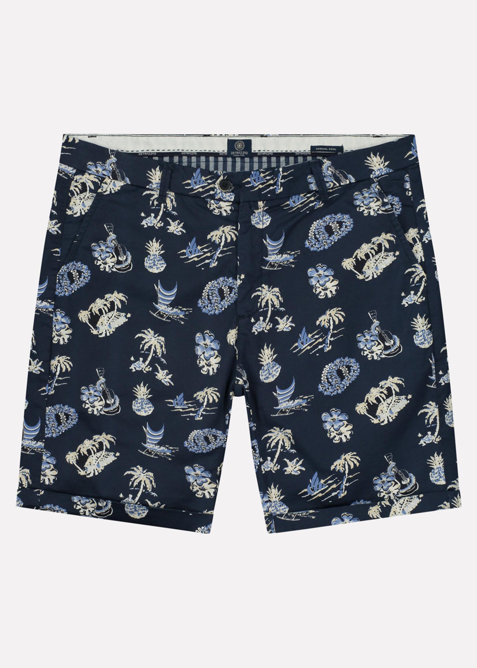Dstrezzed De Fonda Chino shorts met tropische print | Donkerblauw | Dstrezzed