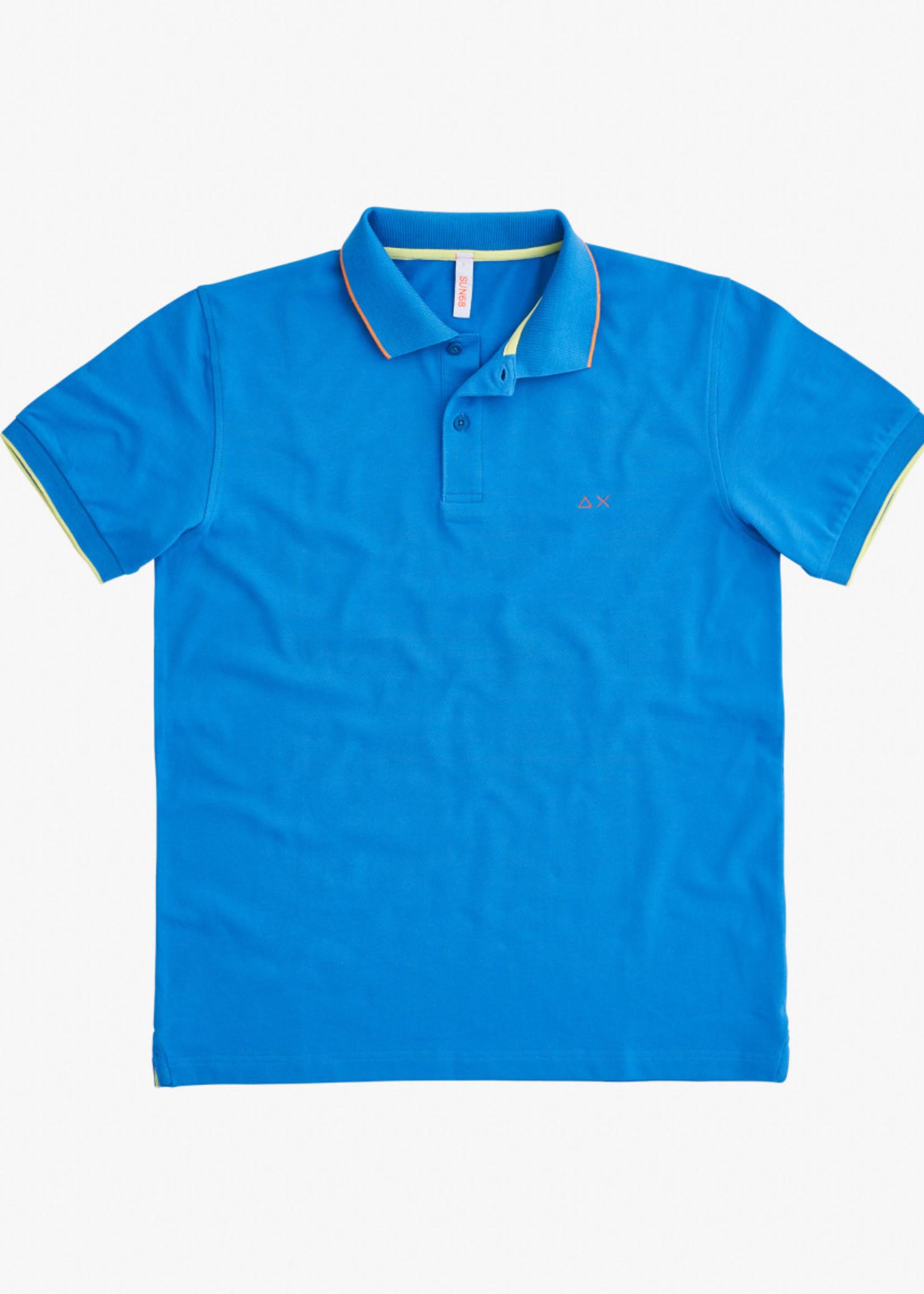 SUN68 Polo Small Stripes On Collar EL.   Bleu   SUN68