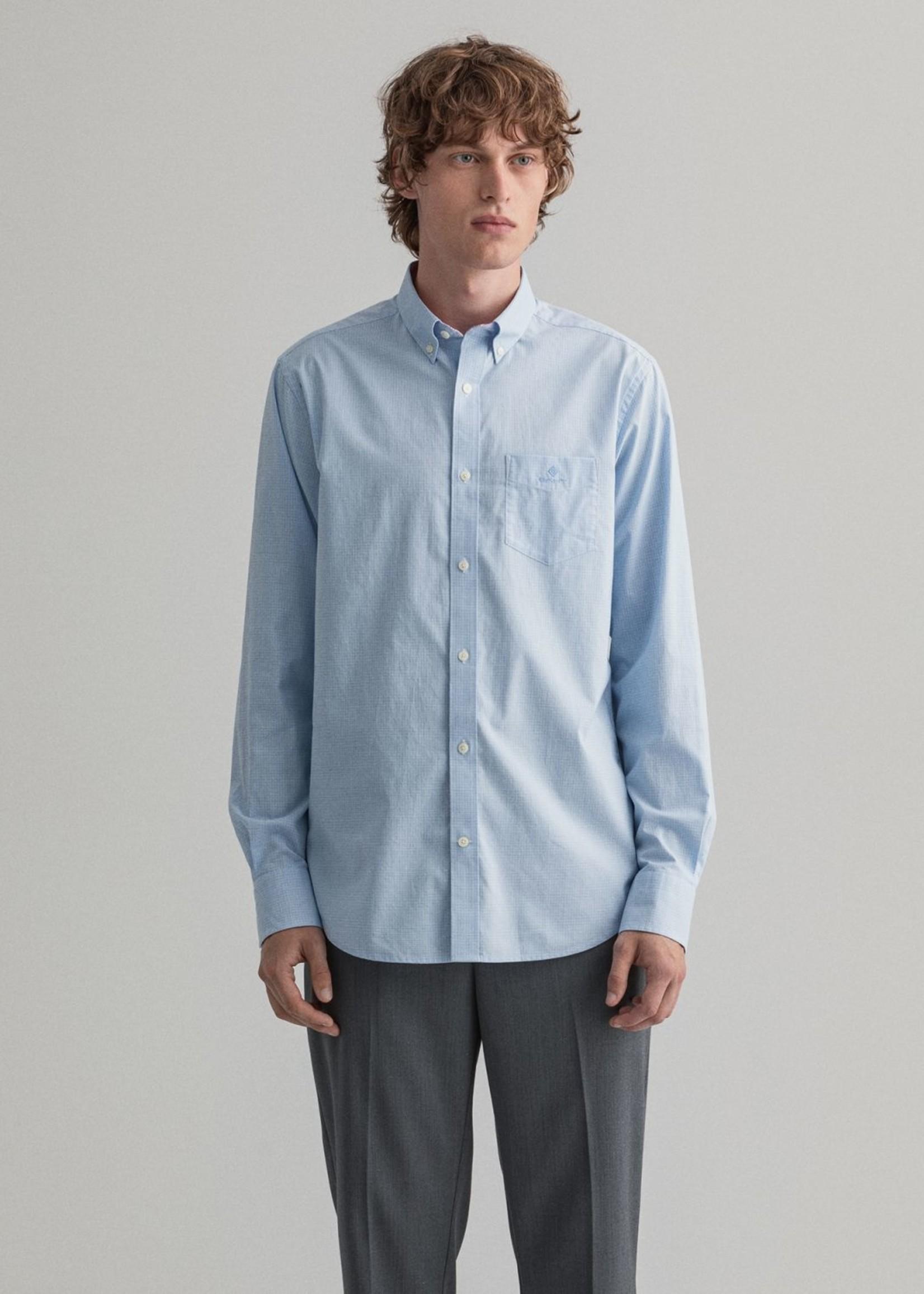 GANT Chemise regular fit en popeline de coton à petits carreaux | Bleu clair | GANT