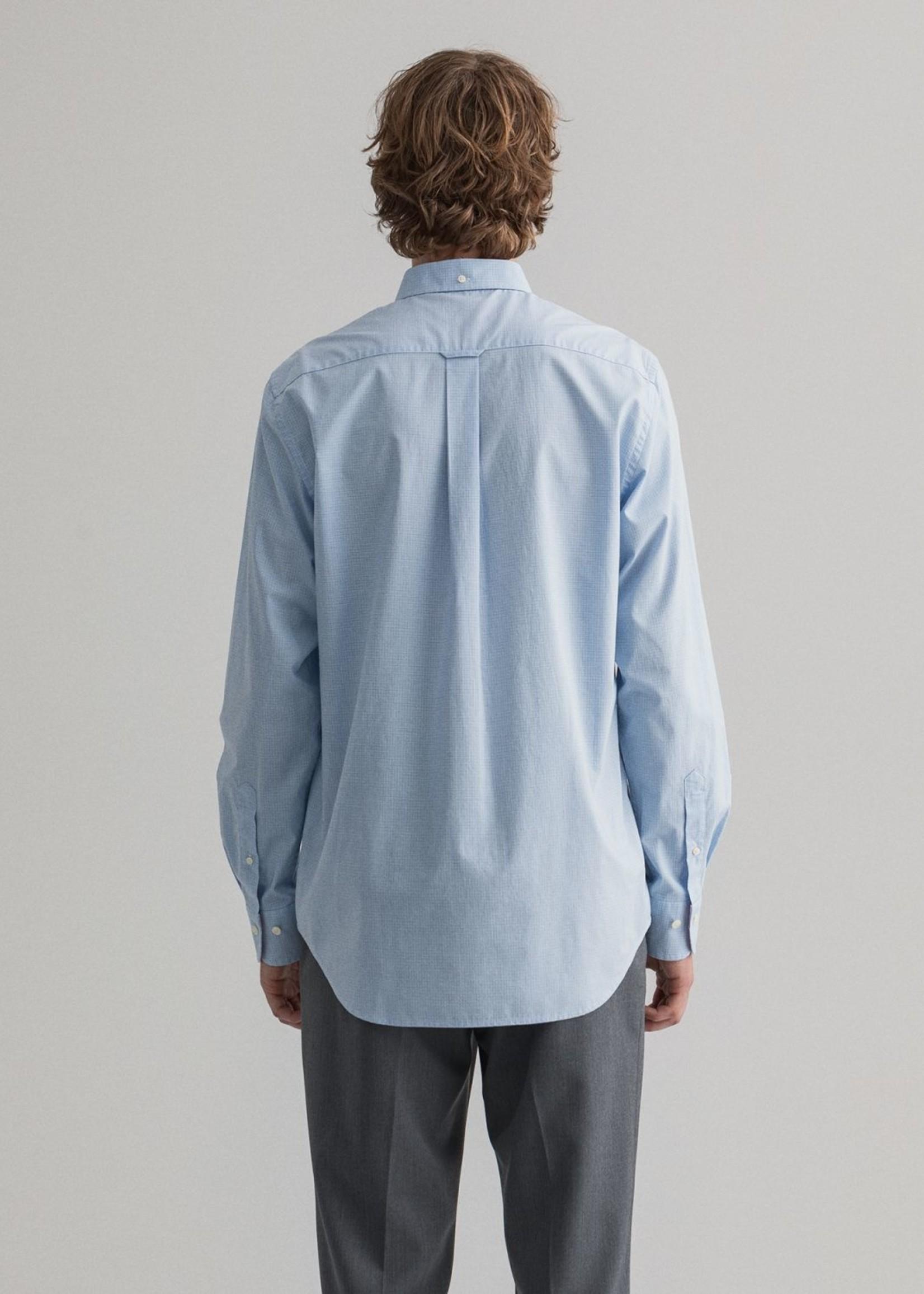 GANT Regular Fit Micro Check Broadcloth Shirt | Light Blue | GANT