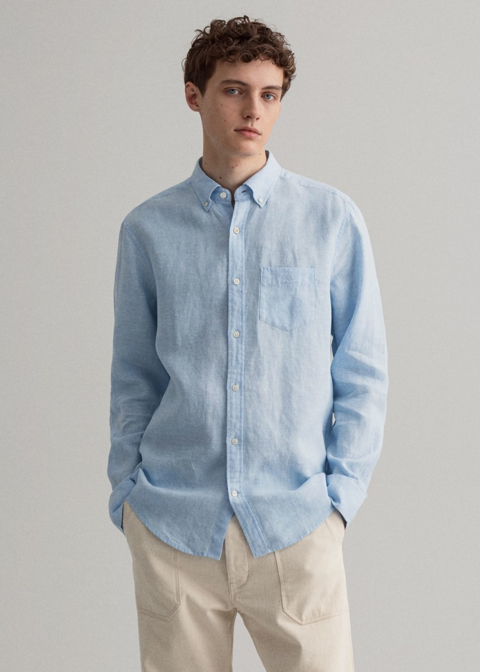 GANT Regular Fit linnen hemd | Lichtblauw | GANT