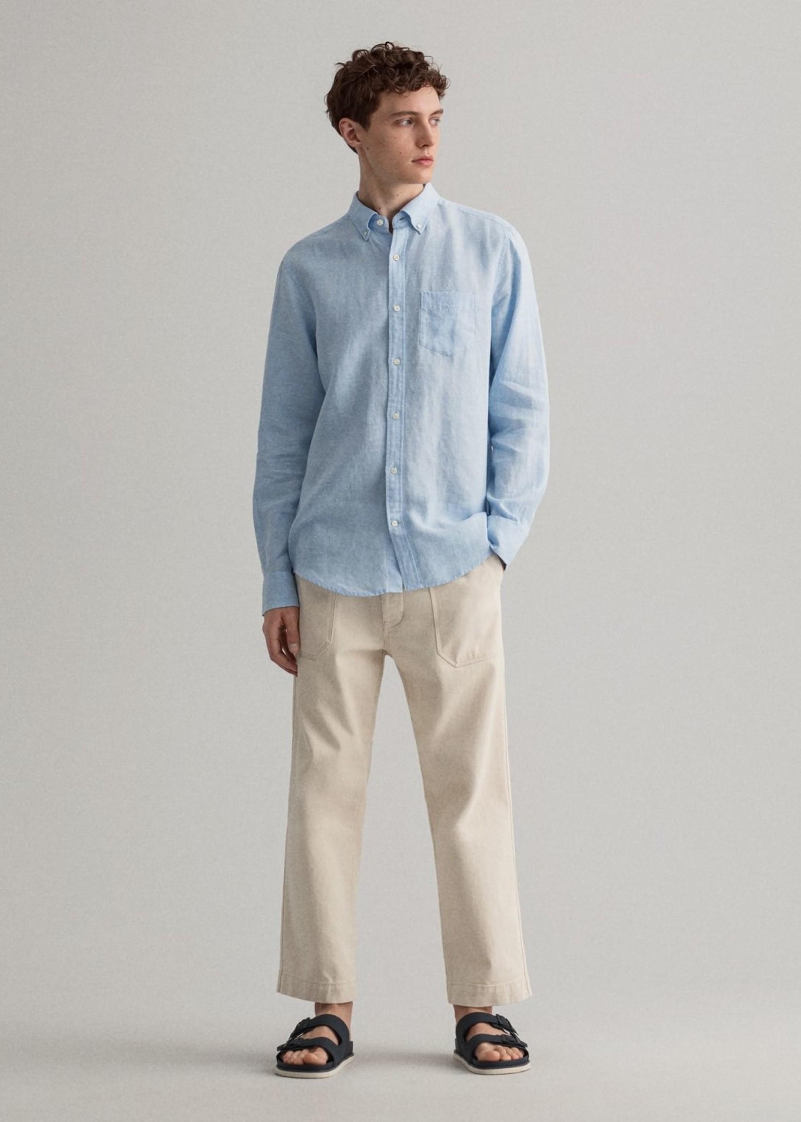 GANT Regular Fit Linen Shirt | Light Blue | GANT