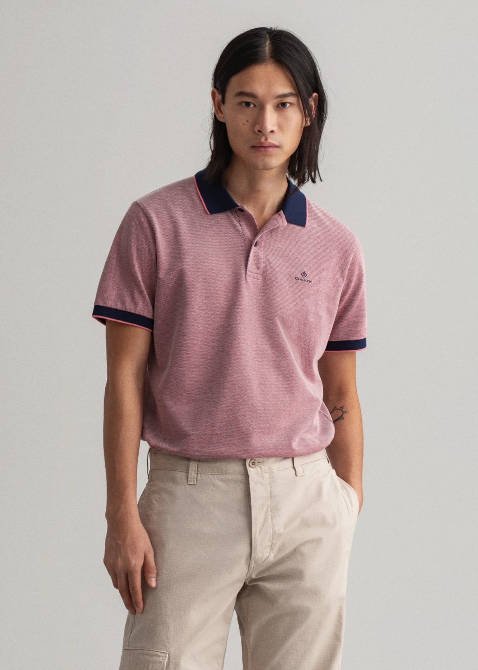 GANT Polo Rugger Oxford en coton piqué quadricolore | Rose | GANT