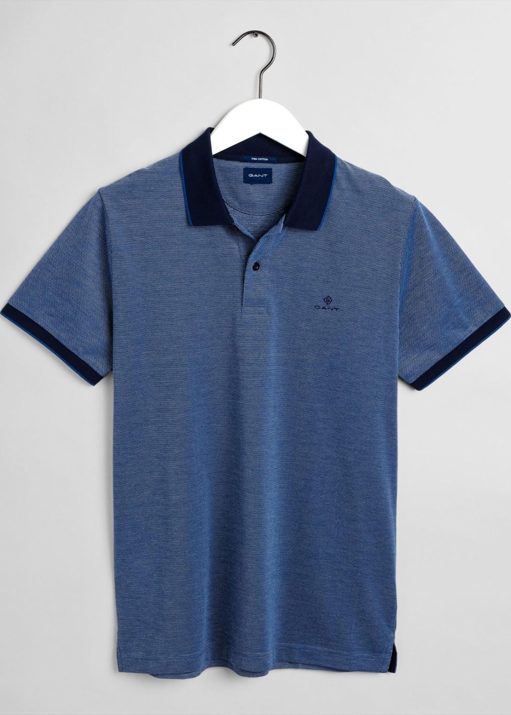 GANT 4-Color Oxford Piqué Polo Shirt   Blue   GANT