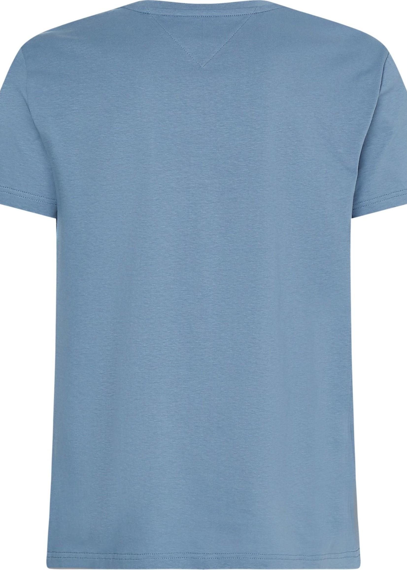 Tommy Hilfiger T-shirt van biologisch katoen met logo | Blauw | Tommy Hilfiger