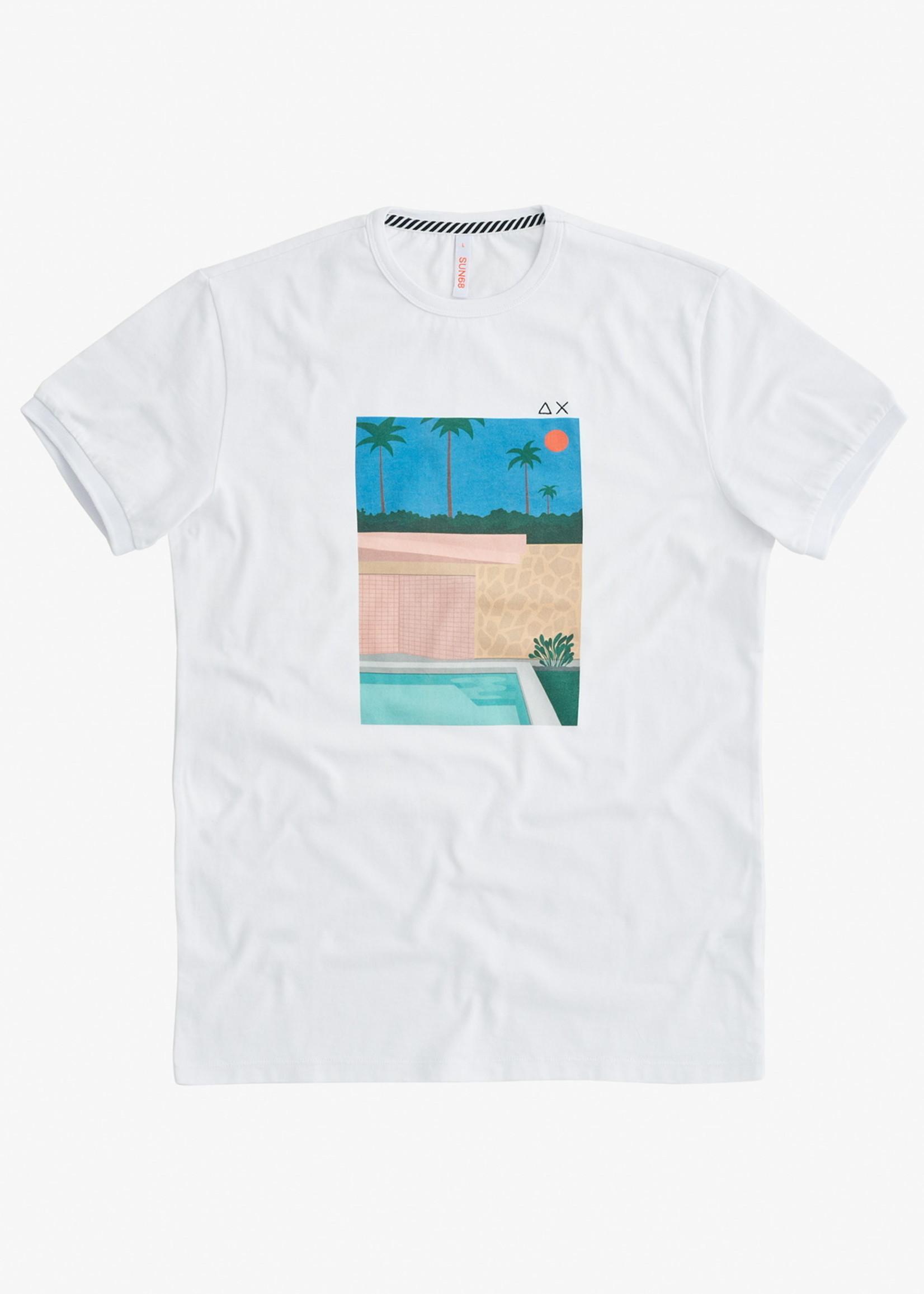 SUN68 T-Shirt Print On Chest | Blanc/Bleu | SUN68