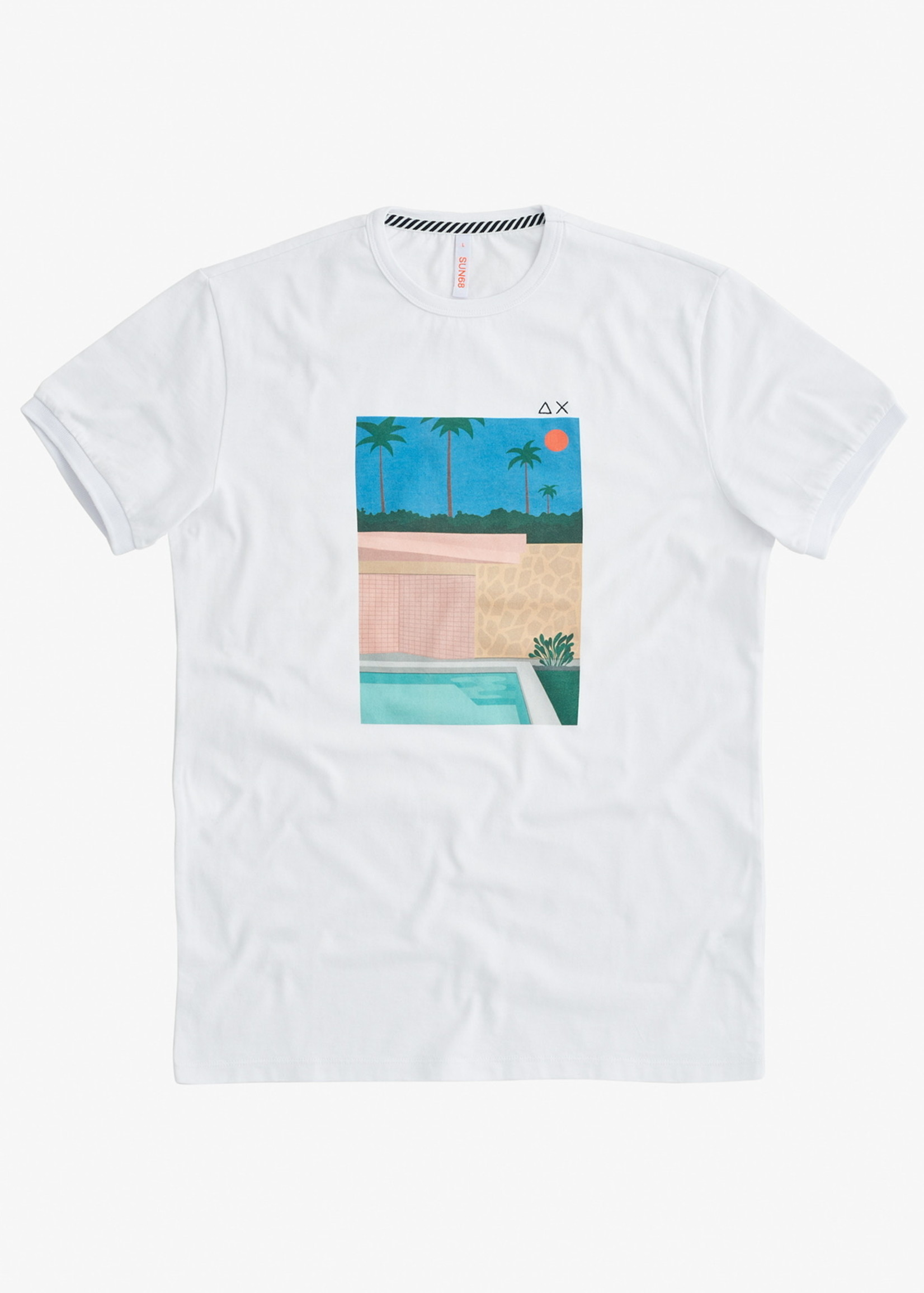 SUN68 T-Shirt Print On Chest | White/Blue | SUN68