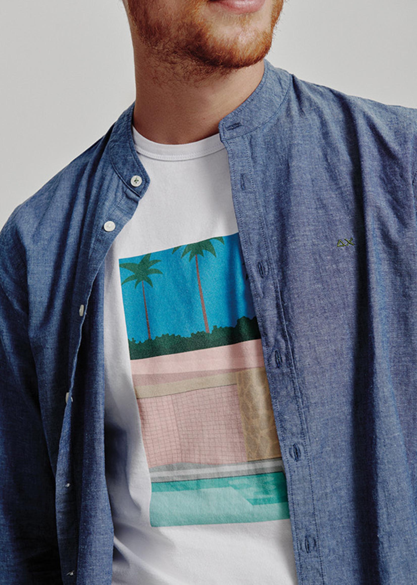 SUN68 T-Shirt Print On Chest | Wit/Blauw | SUN68
