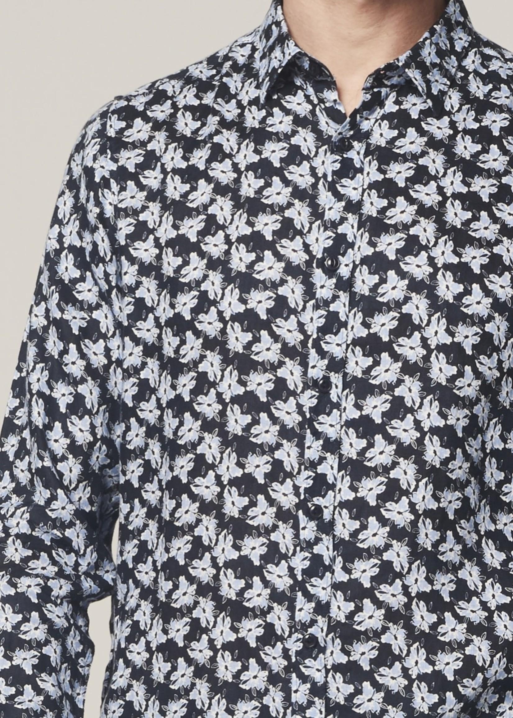 Dstrezzed 100% linnen overhemd bloemen | Donkerblauw | Dstrezzed
