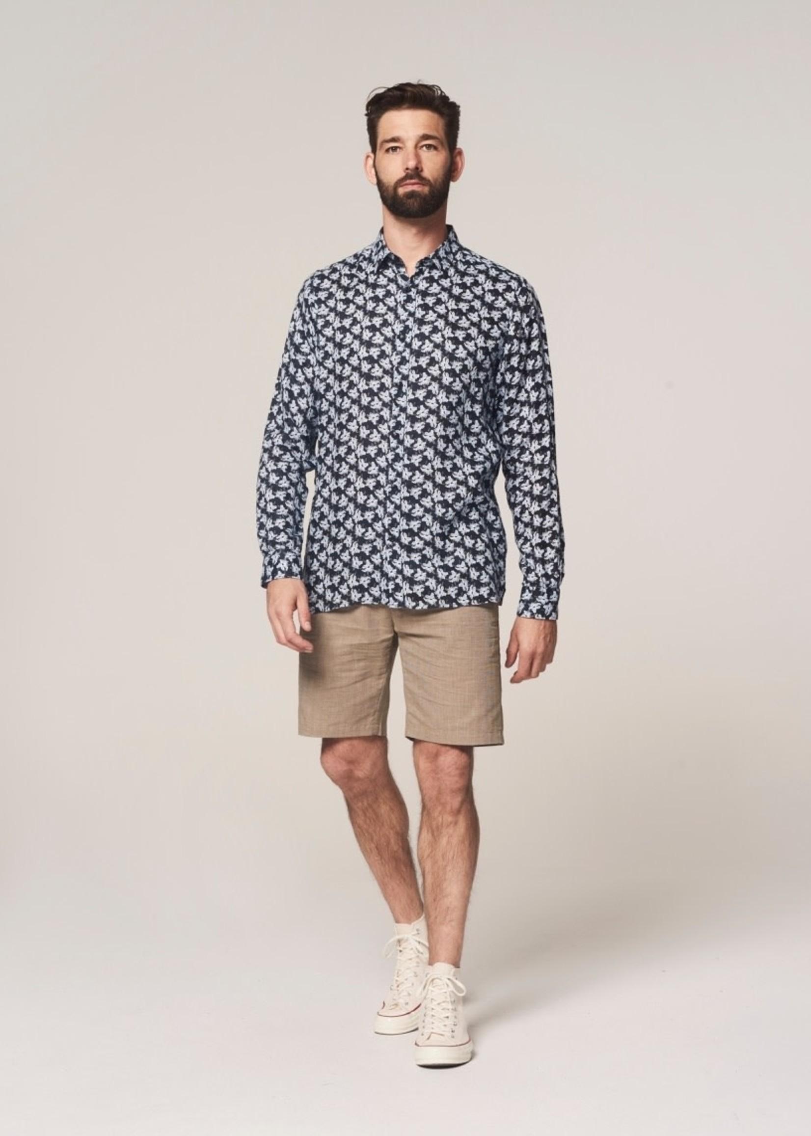 Dstrezzed 100% linen floral shirt | Dark Navy | Dstrezzed