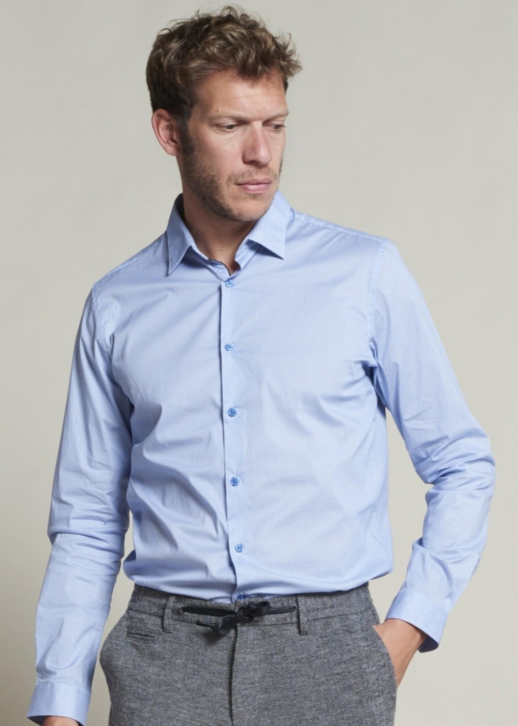 Dstrezzed Fancy Shirt Outline Pattern Lt. Stretch Poplin | Blue | Dstrezzed