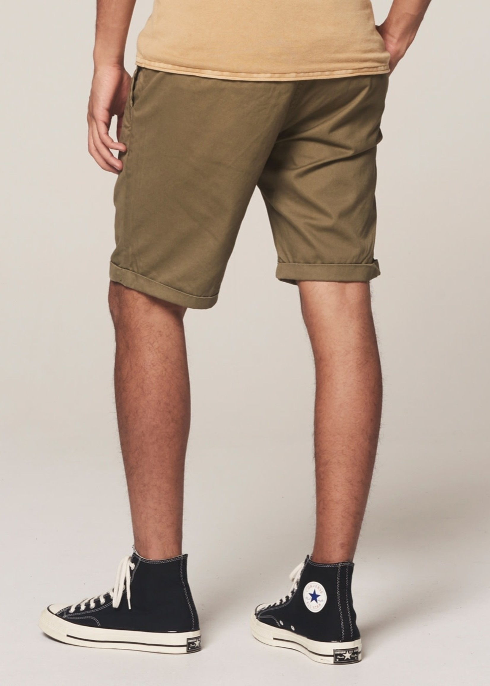 Dstrezzed Chino korte broek dense twill | Legergroen | Dstrezzed