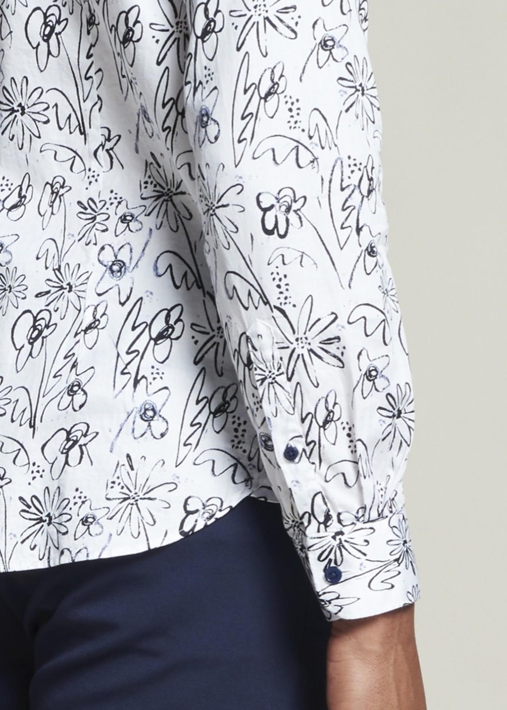 Dstrezzed Chemise à fleurs en satin    Blanc   Dstrezzed