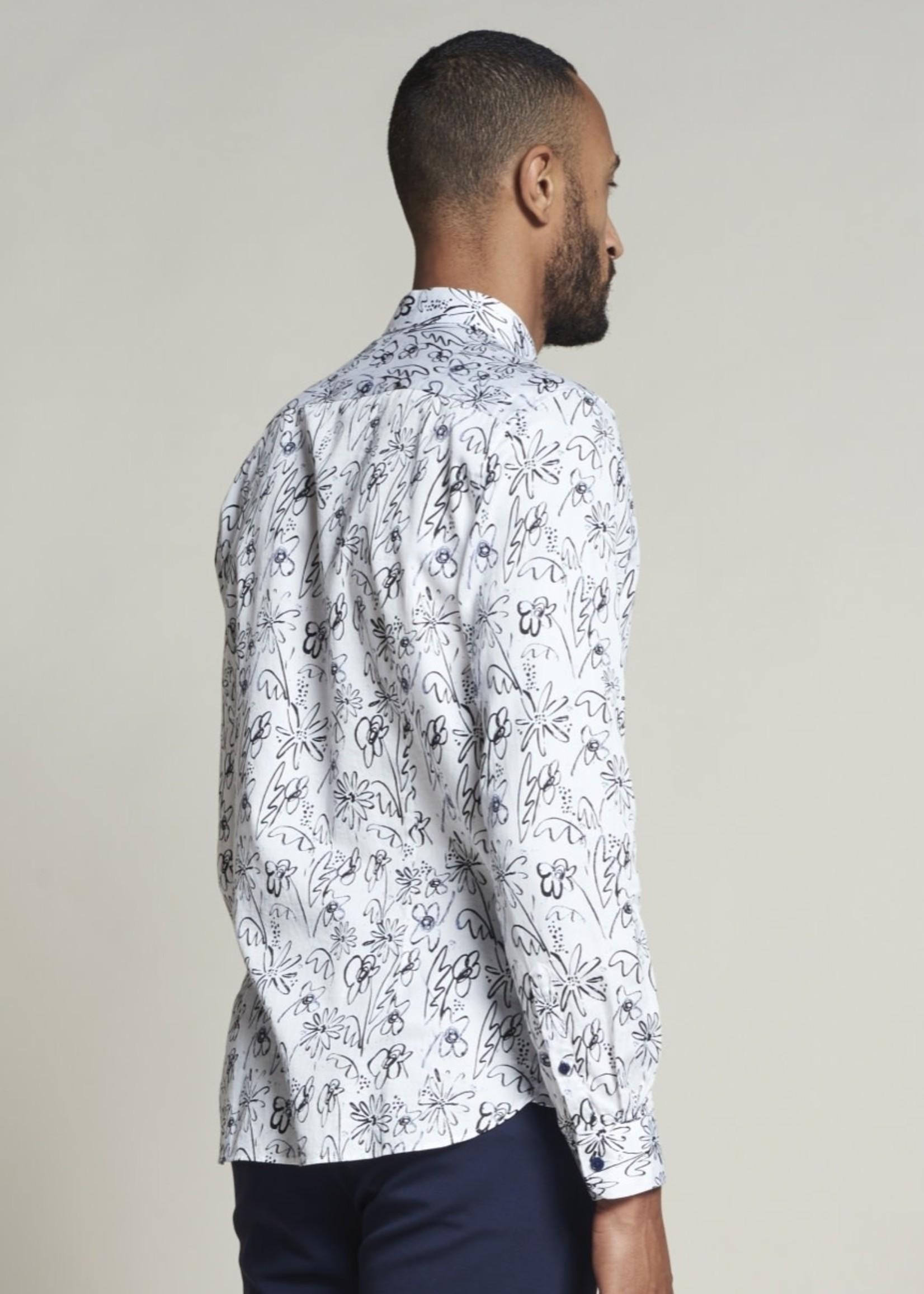 Dstrezzed Satijnen hemd met bloemen | Wit | Dstrezzed