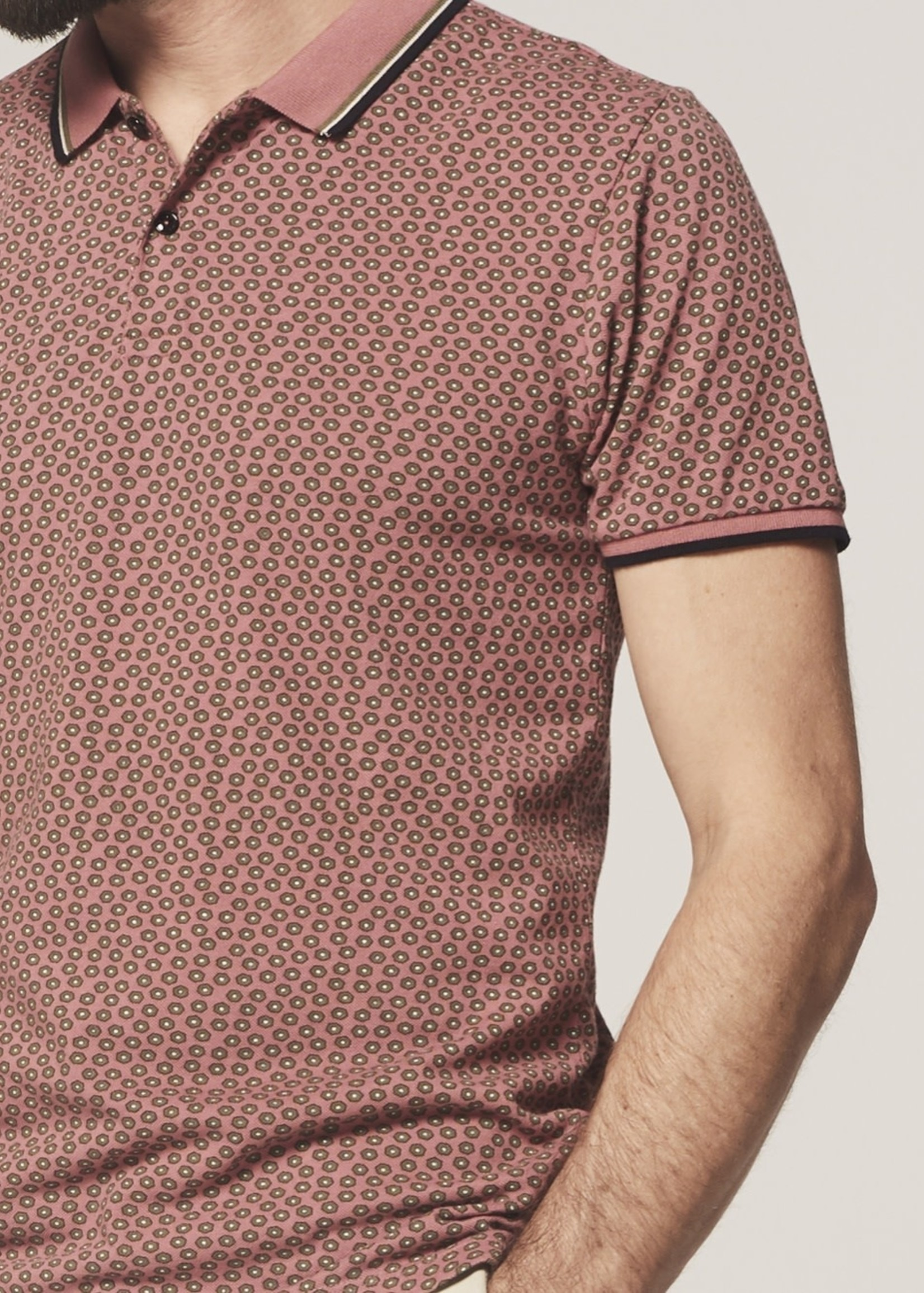 Dstrezzed Polo graphic print pique | Old Pink l Dstrezzed