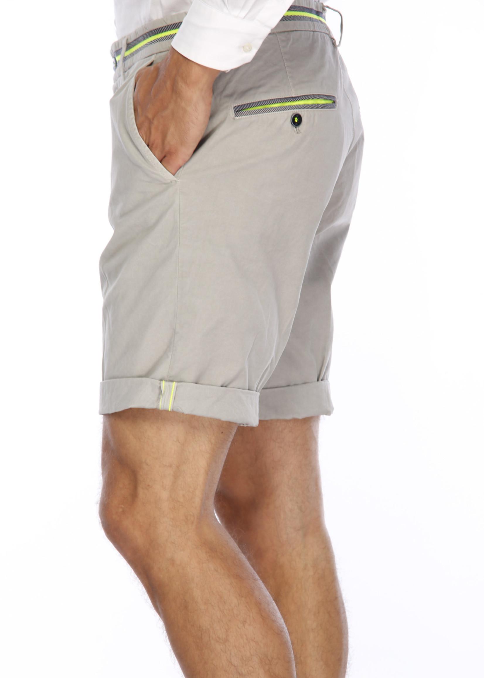 Mason's Short  model Torino Elegance met fluo detail | Lichtgrijs | Mason's