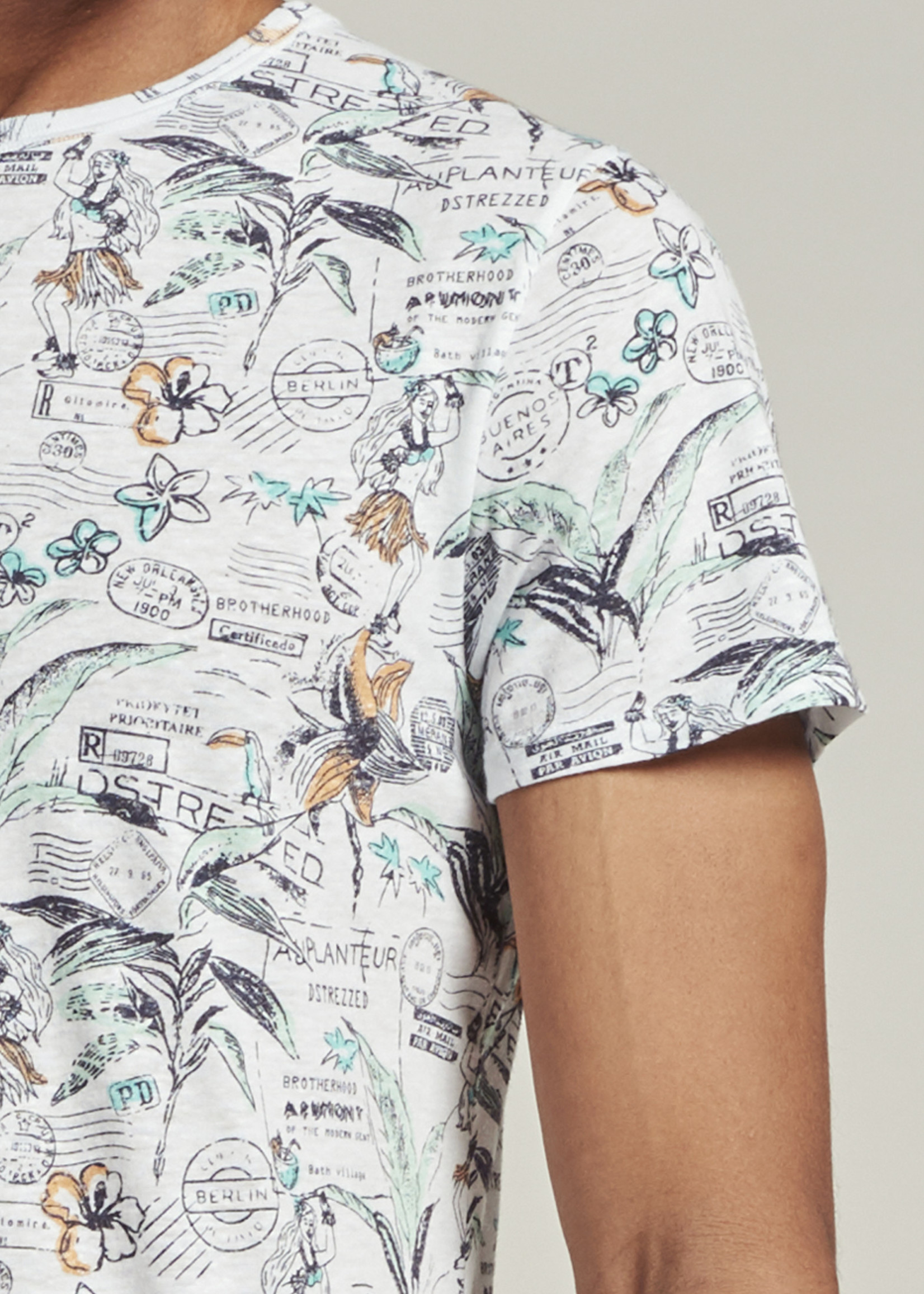 Dstrezzed T-shirt met hawaï print   Wit   Dstrezzed