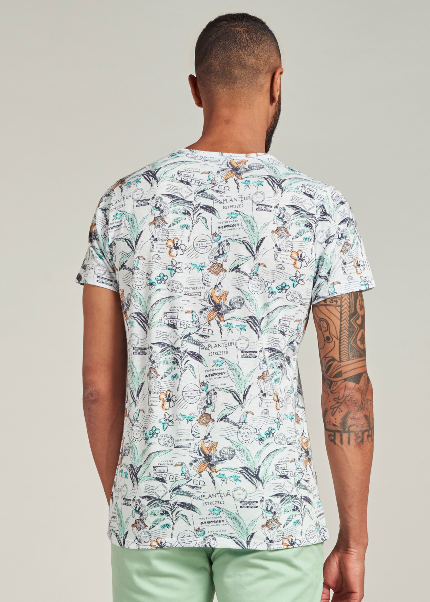Dstrezzed T-shirt avec imprimé hawaï | Blanc | Dstrezzed