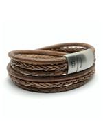 Steel & Barnett Leren Armband Bonacci - Taupe