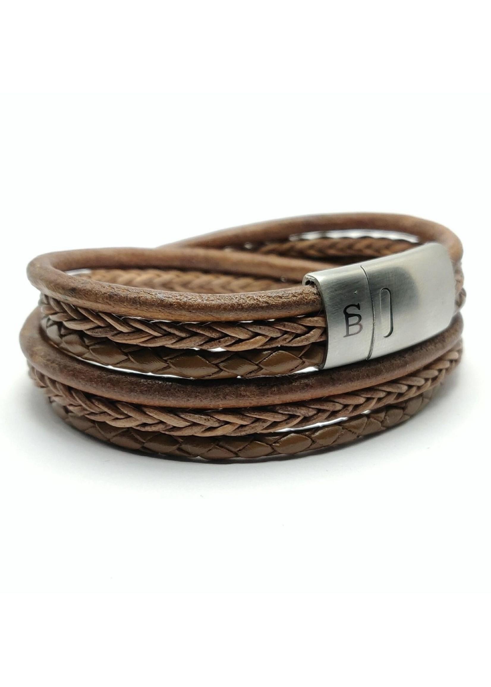 Steel & Barnett Bracelet en cuir Bonacci   Taupe   Steel&Barnett