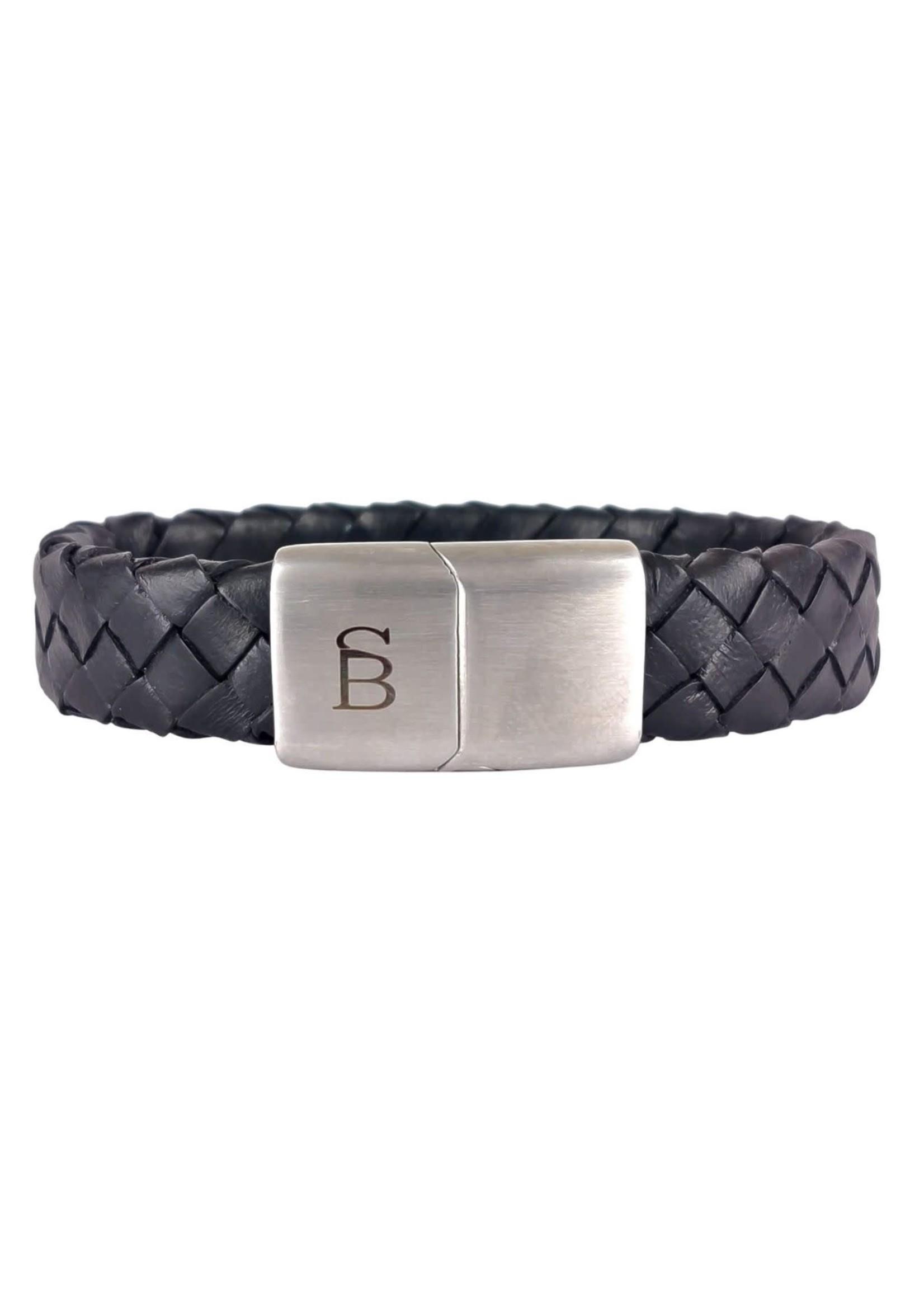 Steel & Barnett Leather Bracelet Preston   Matt Black   Steel&Barnett
