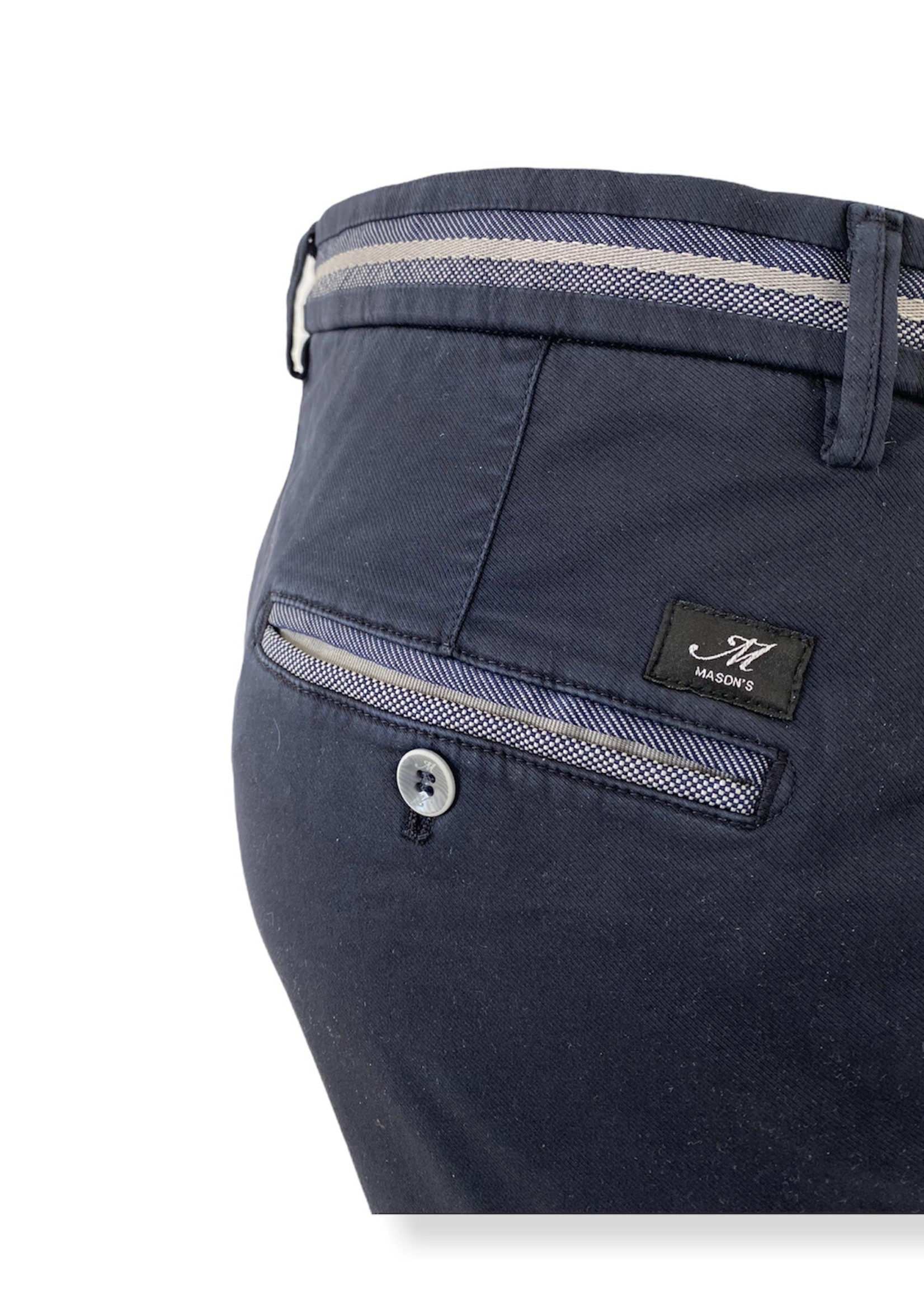 Mason's Pantalon en coton coupe slim Torino Elegance | Bleu marine | Mason's