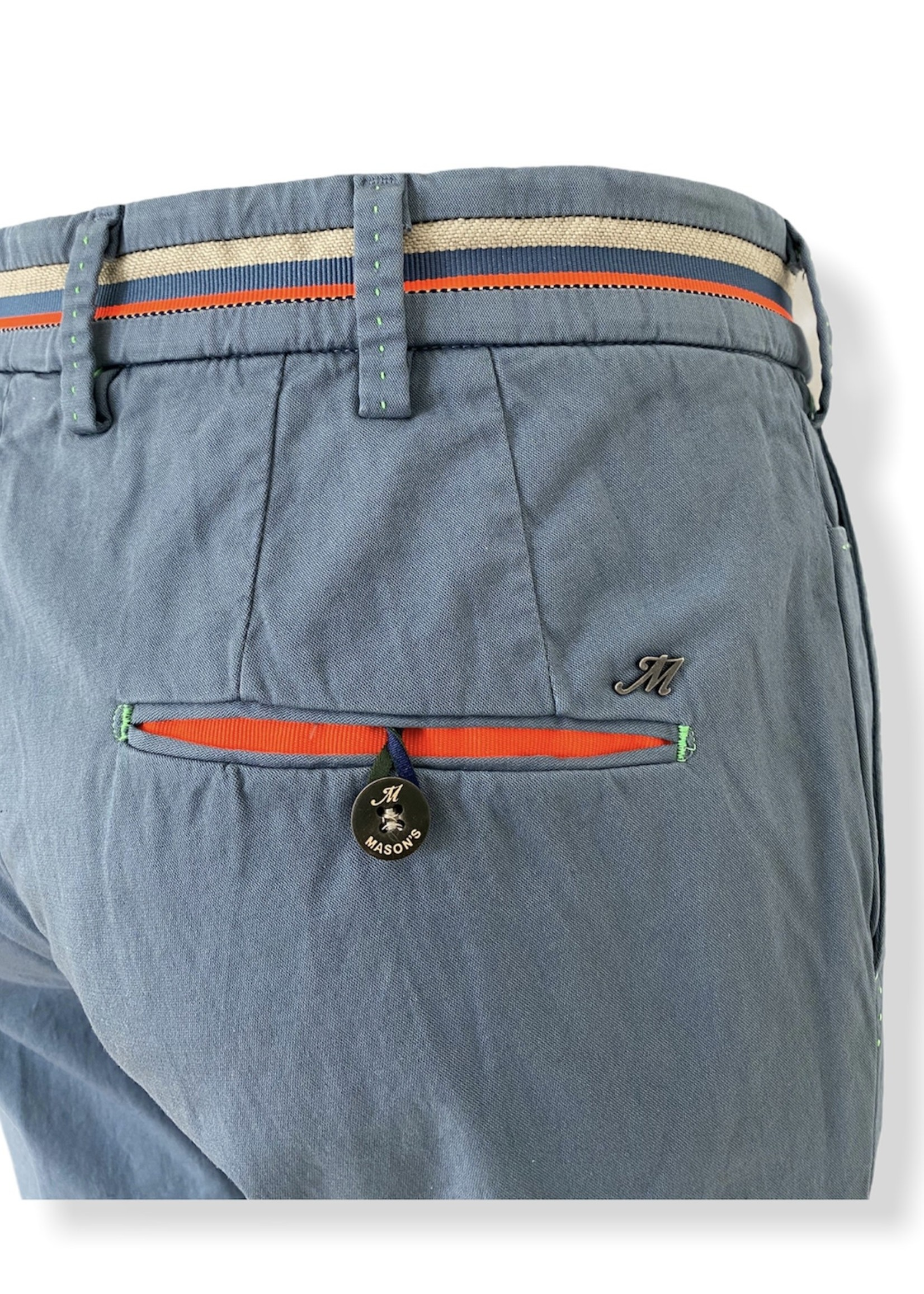 Mason's Pantalon en satin stretch coupe extra slim Milano Start | Bleu ciel | Mason's