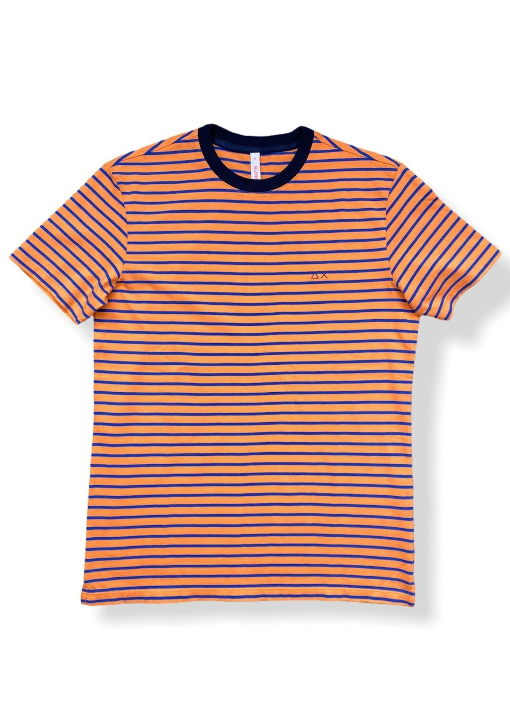 SUN68 T-Shirt Round Full Stripes | Orange/Blue | SUN68